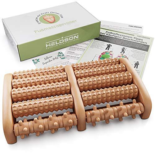 HELDSON® Premium Fußmassageroller Holz inkl. deutscher Anleitung und Karte für Fußreflexzonenmassage - Fussmassageroller Holz für Fußmassage - Fußroller gegen Fersensporn und Plantarfasziitis