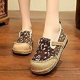 Jskdzfy Zapatos bordados para mujer hechos a mano para mujer, lino y algodón, alpargatas, estilo bohemio, zapatos casuales de plataforma plana (color: marrón, tamaño: 6.5)