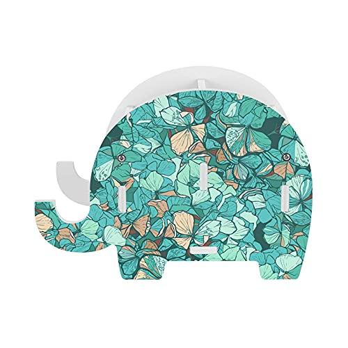 Soporte de lápiz de elefante con textura de flores azules con soporte para teléfono multifunción extraíble pluma taza organizador de escritorio para oficina escritorio decoración del hogar