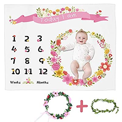 ZITRADES Baby Monthly Milestone Blanket with Bonus Floral Wreath, Monthly Milestone Blanket for Infant Baby Milestone Blanket for Girls Boys Newborn Infant Photo Prop New Mom (Pink) from ZITRADES