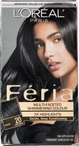 L'Oreal Paris Feria Permanent Haircolour Gel Black 20 Natural