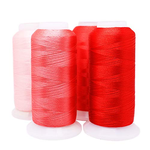 ACRAFT Set of 4 Embroidery Thread Rose Red Polyester Huge Spool for Commercial Embroidery Home Embroidery and Sewing Machines 3608 Yards (3300M) Each – ACRAFT
