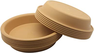 BangQiao 12 Pack 5.90 Inch Plastic Round Planter Pot Saucer Tray for Indoor and Outdoor Plants, Terracotta