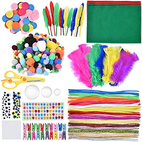 Kit de manualidades para niños, materiales para manualidades de bricolaje, kit de suministros para manualidades y manualidades para niños, limpiapipas para bricolaje, papel de colores y suministros