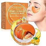Debajo de la máscara para ojos, almohadillas para ojos, película antienvejecimiento, máscara para colágeno con vitamina C, ojeras,líneas finas, bolsas para los ojos, hinchazón (60 pares)