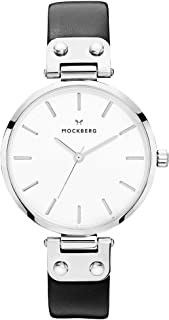 MO1002 Women's Astrid White Dial Black Leather Strap Watch