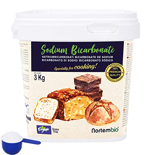 NortemBio Bicarbonate de Soude Biologique 3 Kg. Alimentaire. Spécial pour Cuisiner. Qualité Supérieure. E-Book Inclus.