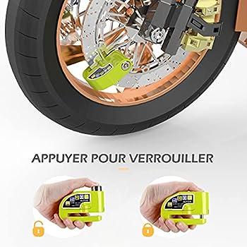 AGPTEK Kit d'Alarme Moto Antivol, Serrure avec Alarme +1.5m Câble Antivol (Vert) Sécurité à Ressort, Bloque Disque pour Moto, Vélo, VTT Scooter, Certifié par CE, Vert