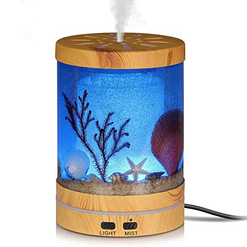 Aigoceer Essential Oil Diffuser, 120ml Ocean Theme Diffusers for Essential Oils Ultrasonic Aroma Diffuser Cool Mist Humidifier, Waterless Auto Shut-Off and 7 Color LED Lights Changing for Home