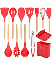 Silicone Kitchen Utensils Set for Cooking - Wood Handle Cookware Utensil Set Tools Accessories - Non Stick Gadgets Utensils with Silicone Spatula/Holder/Spoon/Pasta Fork/Tongs/Whisk/Turner/Spoon Rest