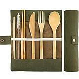 BETOY Juegos de Cubiertos Bambú Set de Utensilios de Viaje, Utensilio de Bambú Reutilizable Tenedor Cuchillo Cuchara Palillos Cepillo de Limpieza de Paja para Picnic de Viaje Escuela de Oficina