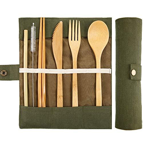 BETOY Set Posate in bambù, Riutilizzabile Utensili di bambù Posate da Viaggio Posate da Campeggio con Borsa Viaggio Include Coltello, forchetta, Cucchiaio, Bacchette, cannucce, Spazzole
