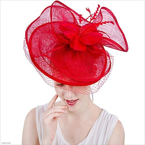 Hat Women Elegant Fascinator Hat Covered Face Bridal Headwear Flower Hair Accessories Wedding Cocktail Royal Ascot Accessories (Color : Red)