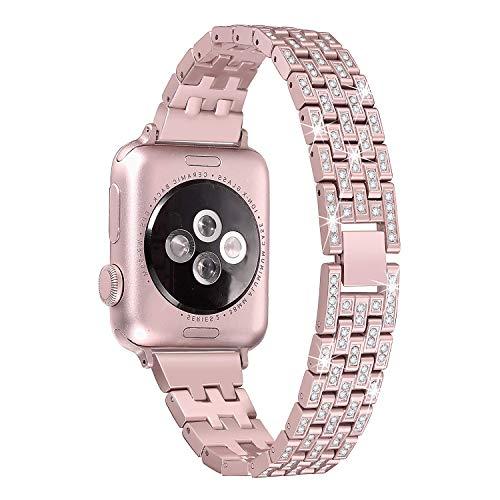 Apple Watch 1/2/3/4 高級ステンレスバンド Apple Watch Series 4 バンド 42mm 44mm おしゃれ 調節可能 光沢度高い ラインストーン付け アップルウォッチ スマート ウォッチ 交換バンド (ローズゴールド)