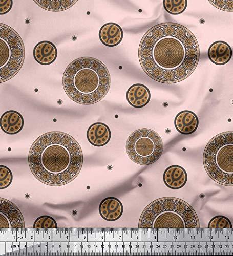 Soimoi Rosa Poly Krepp Stoff Jugendstil-Elemente Kunsthandwerk Stoff Meterware 42 Zoll breit