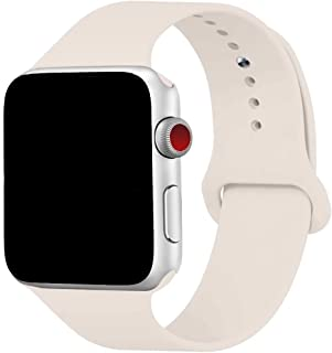 Yaber Soft Silicone Replacement Sport Band Compatible with Apple Watch 40MM 44MM 38MM 42MM All Models (Antique White, 38MM/40MM S/M)