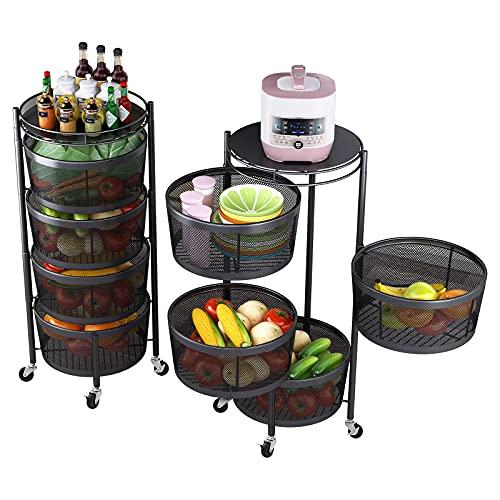 Rotating Storage Rack with 4 Tier Metal Shelves, Kitchen Basket, Food Storage Shelves, Vegetable Storage Fruit Stand, Kitchen Storage Shelves Rack Organizer, Rolling Cart Snack Stand, Black