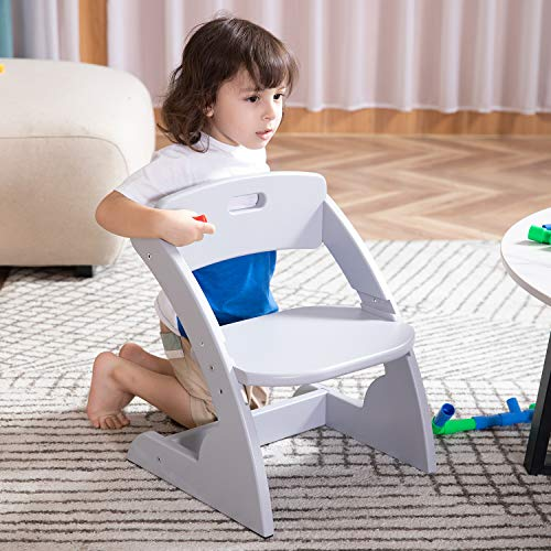 HOUCHICS Wooden Toddler Chair for Kids, Adjustable Kids Wood Chair & Playroom Stool for Bedroom, Children