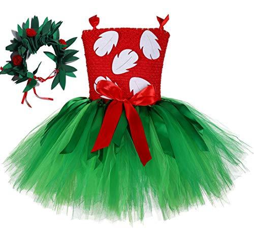 Tutu Dreams Birthday Hawaiian Outfit for Baby Girls 1st Birthday Tropical Hula Luau Dancer Set Green Red Tutu Dress (Red, 1-2T)