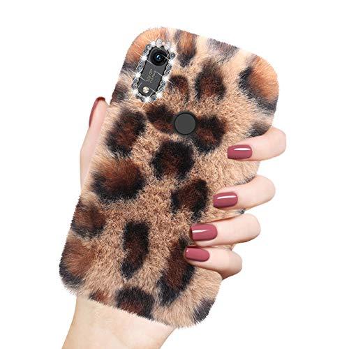 Cover in Peluche per Huawei Y6 2019 / Honor 8A, Misstars Morbido Pelliccia Artificiale Custodia con Bling Diamante Design Inverno Caldo Flessibile Silicone TPU Protettiva Bumper, Leopard Marrone