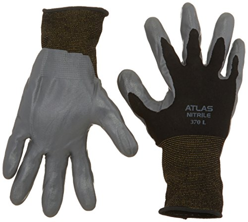 12 Pack - SHOWA Atlas 370 Black Work Gloves - Large