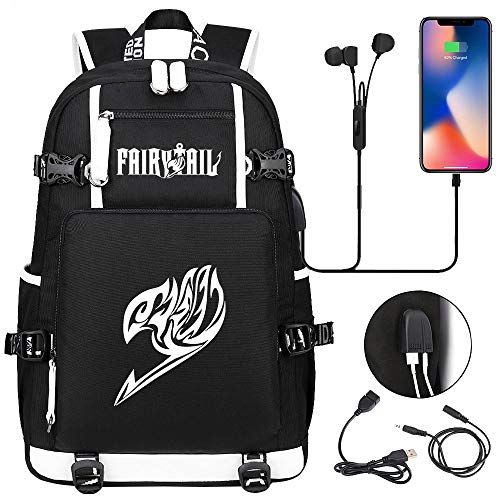 LKKOY Fairy Tail Water Resistant School Rucksack Gifts for Men and Women, Fits Laptop Durable College School Computer Rucksack Anime Movie USB Backpack with Charging Port Black