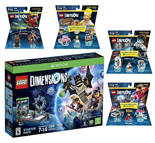 Lego Dimensions Starter Pack + Back To The Future Marty McFly Level Pack + Homer Simpson Level Pack + Portal 2 Level Pack + Ninjago Nya Fun Pack for Xbox One