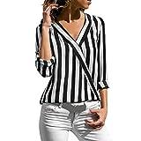 JURTEE Sommer Damen Streifen Oberteile Tiefem V-Ausschnitt Langarm Gestreift Irregulär Saum T-Shirt Bluse Tops(X-Large,Z-1# Schwarz)