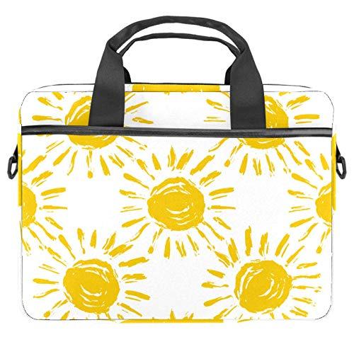 Yellow Sun Pattern Laptop Bags 13.4-14.5-Inch Business Laptop Shoulder Removable Strap Satchel Case Laptop Briefcase