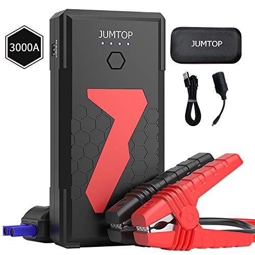 JUMTOP Arrancador Bateria Coche, 22000Mah 3000A Pico Arrancador Coche, Arranque Bateria Coche (Motor 10L Gas / 8L DiéSel), Jump Starter-BateríA AutomáTica Cargador TeléFono Bancario USB LED