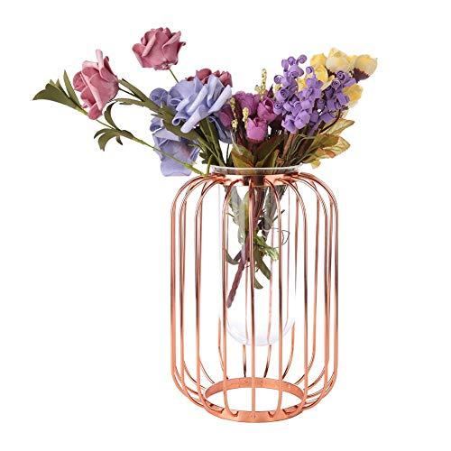 Wosume Decoración de Linterna, florero nórdico de Hierro Forjado en Forma de Linterna Florero de Vidrio de Mesa de Hierro(Trompeta de Oro Rosa)