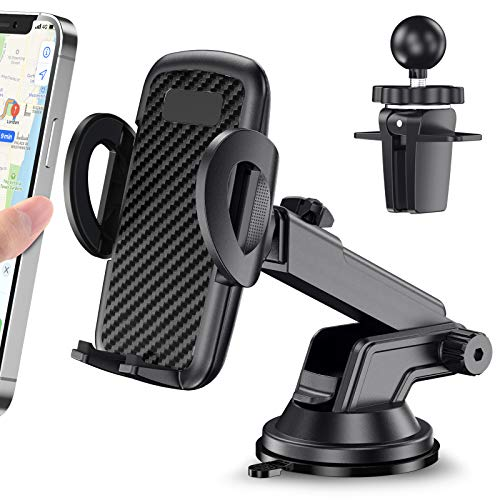 Car Phone Holder, CTYBB Universal Car Phone Mount Dashboard Windshield Air Vent Phone Holder for Car, Compatible with iPhone 12 11 pro/11 pro max/xr/8 Plus/se, Samsung Galaxy S10 Plus/S10e/S9/S20, etc
