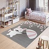 Tapiso Pinky Teppich Kurzflor Kinderteppich Kinderzimmer Grau Rosa Pink Weiß Pastellfarben Modern Hase Herz Spielteppich ÖKOTEX 120 x 170 cm