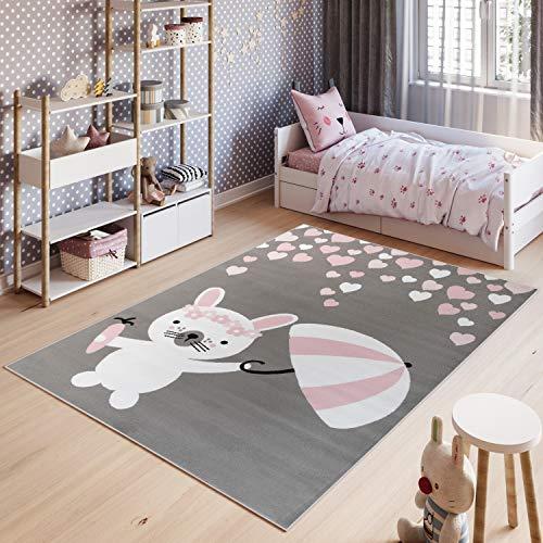 Tapiso Pinky Teppich Kurzflor Kinderteppich Kinderzimmer Grau Rosa Pink Weiß Pastellfarben Modern Hase Herz Spielteppich ÖKOTEX 80 x 150 cm