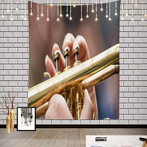 Batmerry Music Abstract Art Band Tapestry, Musician with Brass Trumpet Music Give Best Sound Banner Picnic Mat Hippie Trippy Tapestry Wall Art Decor for Bedroom Living Room, 59.1 x 39.4 Inches, Gold 1