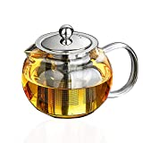 Lead-Free Thicken Glass Teapot Kettle – Removable Stainless Steel Infuser – Great ForBlooming and Loose Leaf Tea Brewer, Thickened (33oz / 950mm)