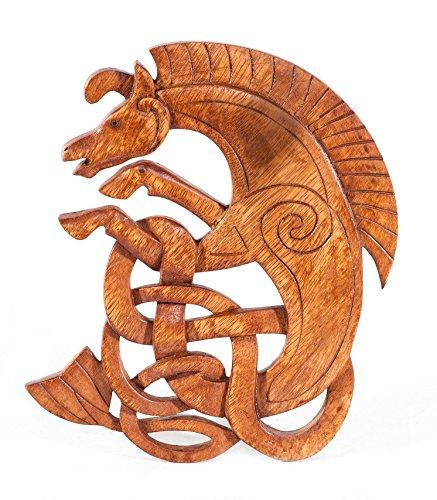 Windalf Pared de Epona H: 25cm keltisches Caballo de Madera Pagan Mano de Madera