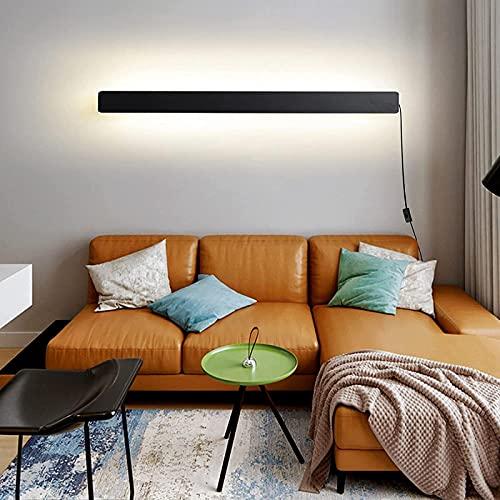 JeeKoudy Lámparas de Pared LED para Interiores con Interruptor y Enchufe Lámpara de Pared Lámpara de Pared Arriba Abajo Barra de luz Focos de Pared Regulables de Aluminio Moderno Tira Negra