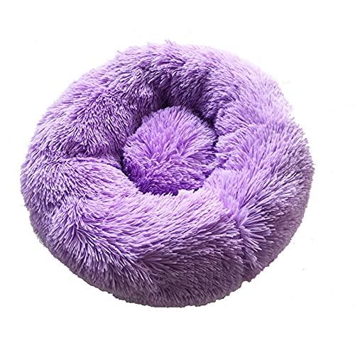 Larga Peluche Cama para Mascotas Cat Súper Suave Cama para Perros Perro Perro Redondo Invierno Cálido Cómico Cojín Cojín Cojineta Cat Suplementos (Color : Purple, Size : 40cm)