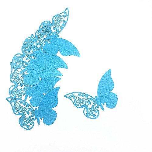 ElecMotive 100 Stück Schmetterling Tischkarten Namenskarten Glasanhänger Wandsticker für Tischdeko Hochzeit Party Haus Deco (Türkis)