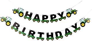BESTOYARD - Guirnalda de cumpleaños, diseño de tractor, color verde