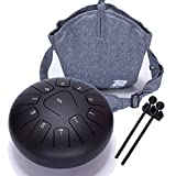 Steel Tongue Drum Tank Drum Standard 11 Key 11 Notes 10 Inch Percussion Instrument with Drum Mallets and Carry Bag (10 inch, Matte Black)