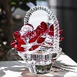 H&D Cesta de flores de cristal rojo para decoración de mesa