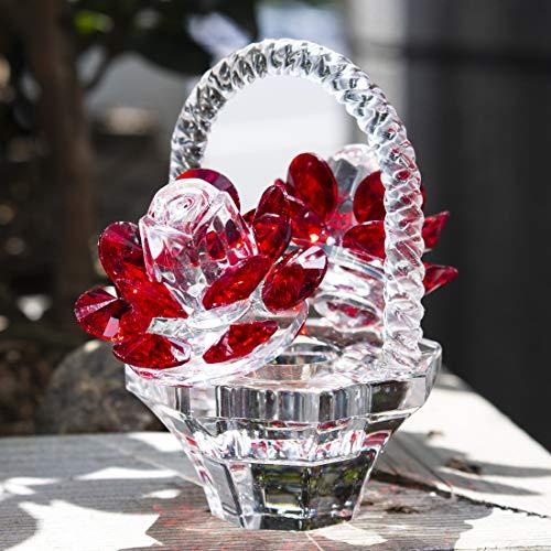 H&D Roter Kristall Rose Blumenkorb,Glas sammelfiguren Ornamente für Wohnkultur Tischdekoration