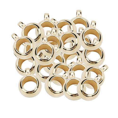 chiwanji 100Pcs 5mm Gran Agujero Bail Beads Fit Charm Bracelet European Colgante Colgadores - Oro, Individual