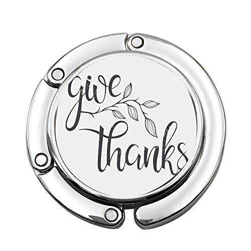 Letras cursivas monocromáticas Cita de Agradecimiento con Rama frondosa Bolso de señora Plegable Gancho de suspensión de Escritorio de Mesa