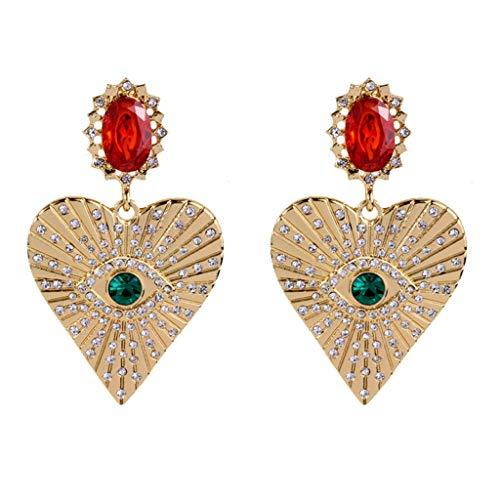 Joocyee Pendientes Forma de corazón para Mujeres y niñas, diseño de Ojos con Diamantes de imitación completos, Oreja, Pendiente para Mujer, Dorado