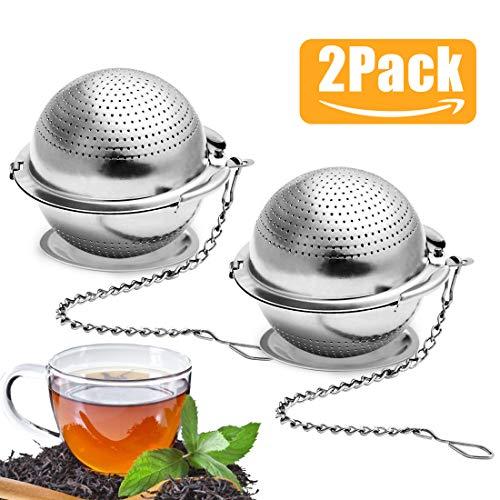 Teezange Set, 2 Stück Teesieb Edelstahl mit Kette und Abtropfschale, Teeei für Tasse Losen Tee, Teesieb für Teeliebhaber, Tea Infuser, Silber (Teesieb 5.5 cm)