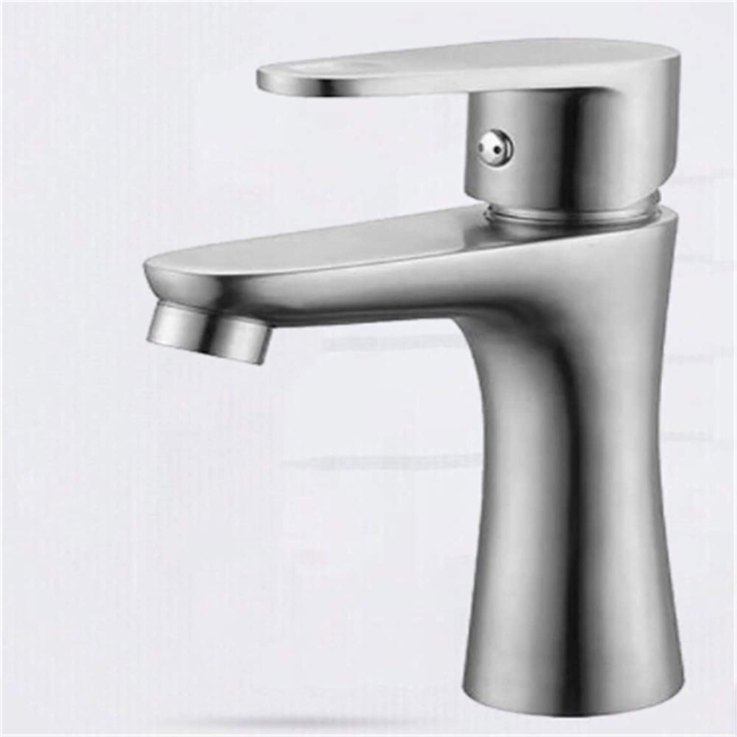 Water Tap Kitchen Faucet Tapstainless Steelkitchen Faucet Prostainless Steel Wire Drawing Basin Hot and Cold Single Hole Faucet Cold and Hot Faucet Bath Faucet Basin Faucet