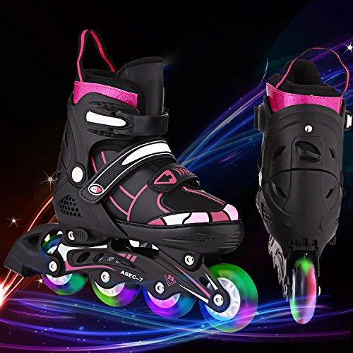 Hesyovy Leucht PU Räder Inline-Skates, Rollerblades für Kinder, größenverstellbar von 31 bis 42, ideal für Anfänger, komfortable Rollschuhe, Inliner für Mädchen und Jungen (Schwarz-Rosa, EU 35-38)